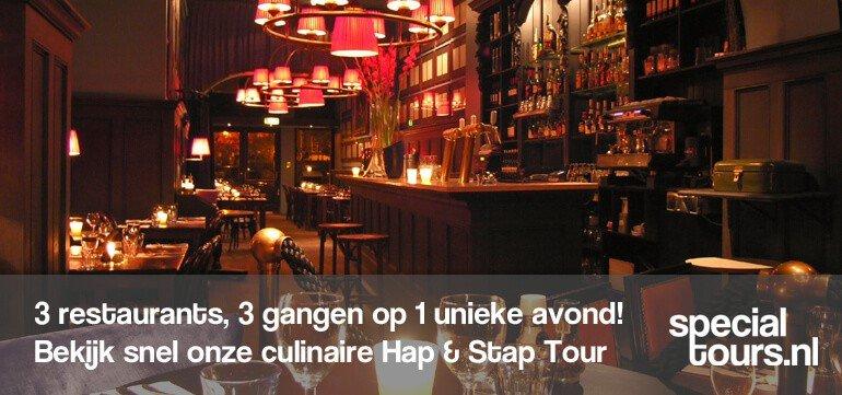 walking dinner amsterdam hap en stap tour - Amsterdam Tour - Bedrijfsuitje Amsterdam? Vrijgezellenfeest Amsterdam? Dagje uit? De leukste uitjes van Amsterdam boek je bij Specialtours!